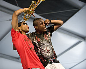Trombone Shorty (left) and Glen David Andrews, testifying